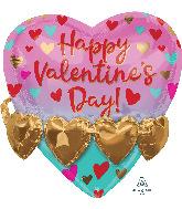 "21"" Valentines Gold Heart Garland Foil Multi-Balloon"