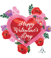"""27"""" Happy Valentine's Day Painted Roses Foil Balloon"""