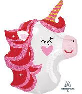 "21"" Junior Shape Pretty in Pink Unicorn Foil Balloon"