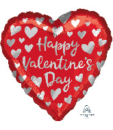 """18"""" Happy Valentine's Day Simple Silver Hearts Foil Balloon"""