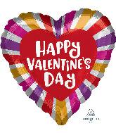 "18"" Happy Valentine's Day Radiant Bursts Foil Balloon"