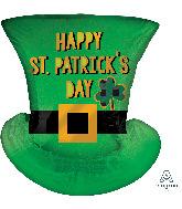 "24"" SuperShape St. Patrick's Day Satin Top Hat Foil Balloon"