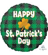 "18"" St. Patrick's Day Plaid Foil Balloon"