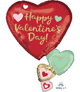 """30"""" Happy Valentine's Day Floating Hearts Foil Balloon"""