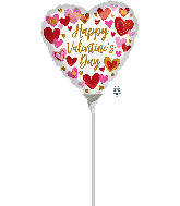 """4"""" Airfill Only Playful Valentine's Day Hearts Foil Balloon"""
