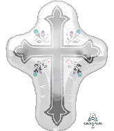 """28"""" Holy Day Cross SuperShape Foil Balloon"""