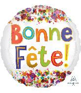 """18"""" Bonne Fête Watercolor Dots Foil Balloon"""