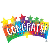 "34"" Congrats Star Banner SuperShape Foil Balloon"