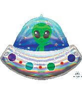 "28"" Alien Space Ship Iridescent Holographic Foil Balloon"