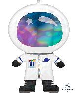"30"" Iridescent Astronaut Holographic Foil Balloon"