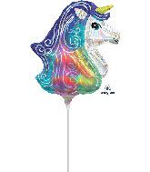Airfill Only Iridescent Unicorn Mini Shape Foil Balloon