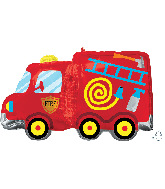"30"" Fire Truck SuperShape Foil Balloon"