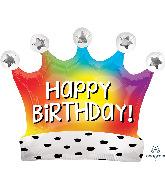 """27"""" Birthday Satin Rainbow Crown SuperShape Foil Balloon"""