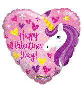 "18"" Happy Valentine's Day Unicorn Holographic Foil Balloon"