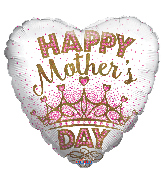 """18"""" Happy Mother's Day Crown Foil Balloon"""