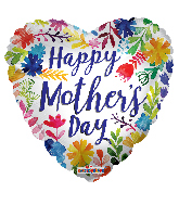 """17"""" Happy Mother's Day Painted Flowers Foil Balloon"""