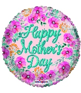 """18"""" Happy Mother's Day Flowers Gellibean Foil Balloon"""