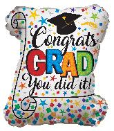 """12"""" Congrats Grad Diploma Shape Foil Balloon"""