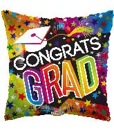 "18"" Grad Stars & Rainbow Holographic Foil Balloon"