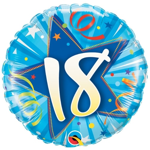 "18"" 18 Shining Star Bright Blue Mylar Balloon"