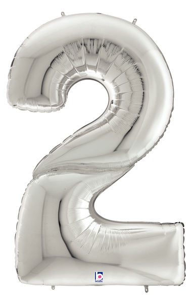"64"" Foil Shaped Gigaloon Balloon Packaged Number 2 Silver"