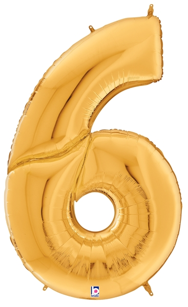 """64"""" Foil Shaped Gigaloon Balloon Packaged Number 6 Gold"""