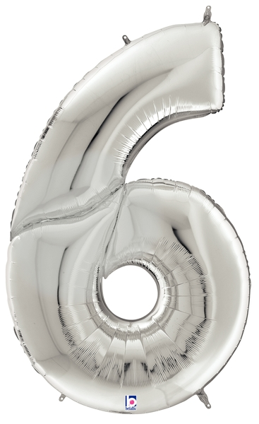 """64"""" Foil Shaped Gigaloon Balloon Packaged Number 6 Silver"""