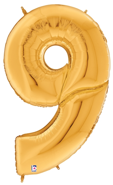 """64"""" Foil Shaped Gigaloon Balloon Packaged Number 9 Gold"""