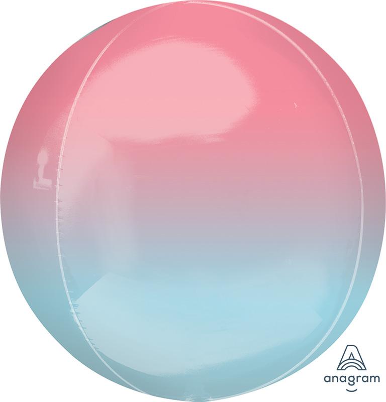 "16"" Ombre Orbz Pastel Pink & Blue Foil Balloon"