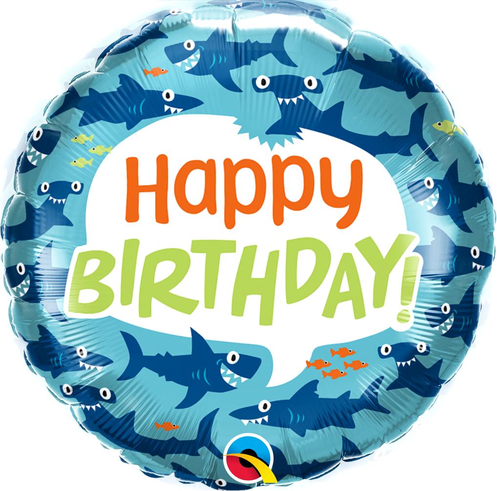 "18"" Birthday Fun Sharks Foil Balloon"