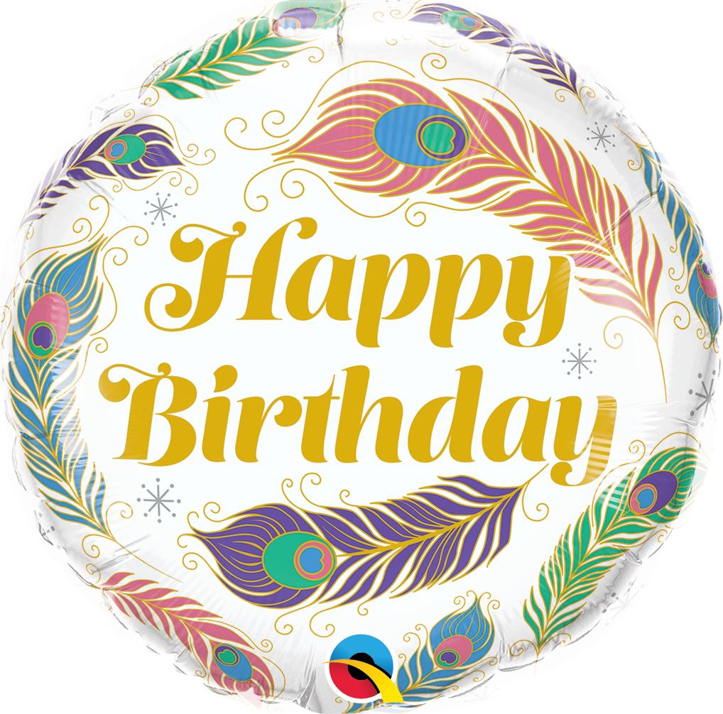 "18"" Birthday Peacock Feathers Foil Balloon"