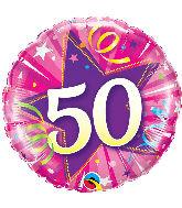 """18"""" 50 Shining Star Hot Pink Mylar Balloon"""