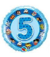 "18"" Age 5 Blue Pirates Mylar Balloon"