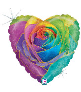 """18"""" Foil Balloon Holographic Rainbow Rose"""