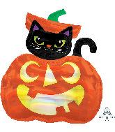 "28"" Jumbo Iridescent Cat and Pumpkin Foil Balloon"