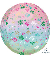 "16"" Orbz Ombré Snowflakes Foil Balloon"