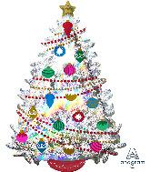 """36"""" Jumbo Iridescent Christmas Tree Foil Balloon"""