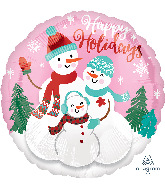"18"" Happy Holidays Snow Family Foil Balloon"
