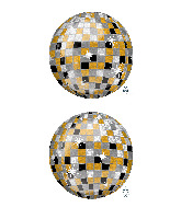 "16"" Orbz Gold, Silver, Black Disco Ball Foil Balloon"