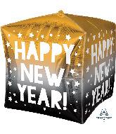 """15"""" Jumbo Cubez Happy New Years Stars Foil Balloon"""
