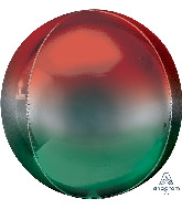 "16"" Ombre Orbz Red & Green Foil Balloon"
