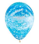 "11"" Betallic Graffiti Sky Blue Marble Latex Balloons"