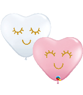 "11"" Heart Eyelashes Latex Balloons  Pink, White (50 Per Bag)"