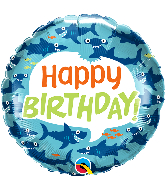 "18"" Birthday Fun Sharks Foil Balloon"