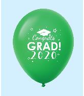 """11"""" Congrats Grad 2020 Latex Balloons 25 Count Green"""
