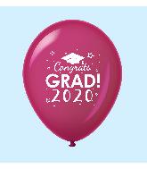 "11"" Congrats Grad 2020 Latex Balloons 25 Count Burgundy"
