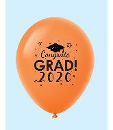 """11"""" Congrats Grad 2020 Latex Balloons 25 Count Orange"""