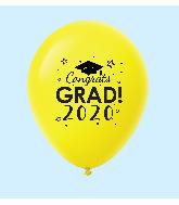"11"" Congrats Grad 2020 Latex Balloons 25 Count Yellow"