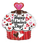 "18"" Happy Valentine's Day Cupcake Foil Balloon"