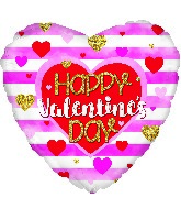"""13"""" Airfill Only Happy Valentine's Day Stripes Foil Balloon"""